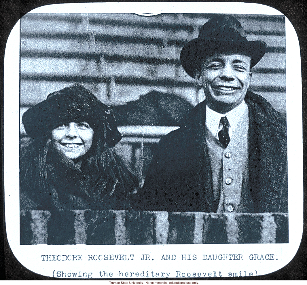 Theodore Roosevelt Jr. and his daughter Grace.  (Showing the hereditary Roosevelt smile)