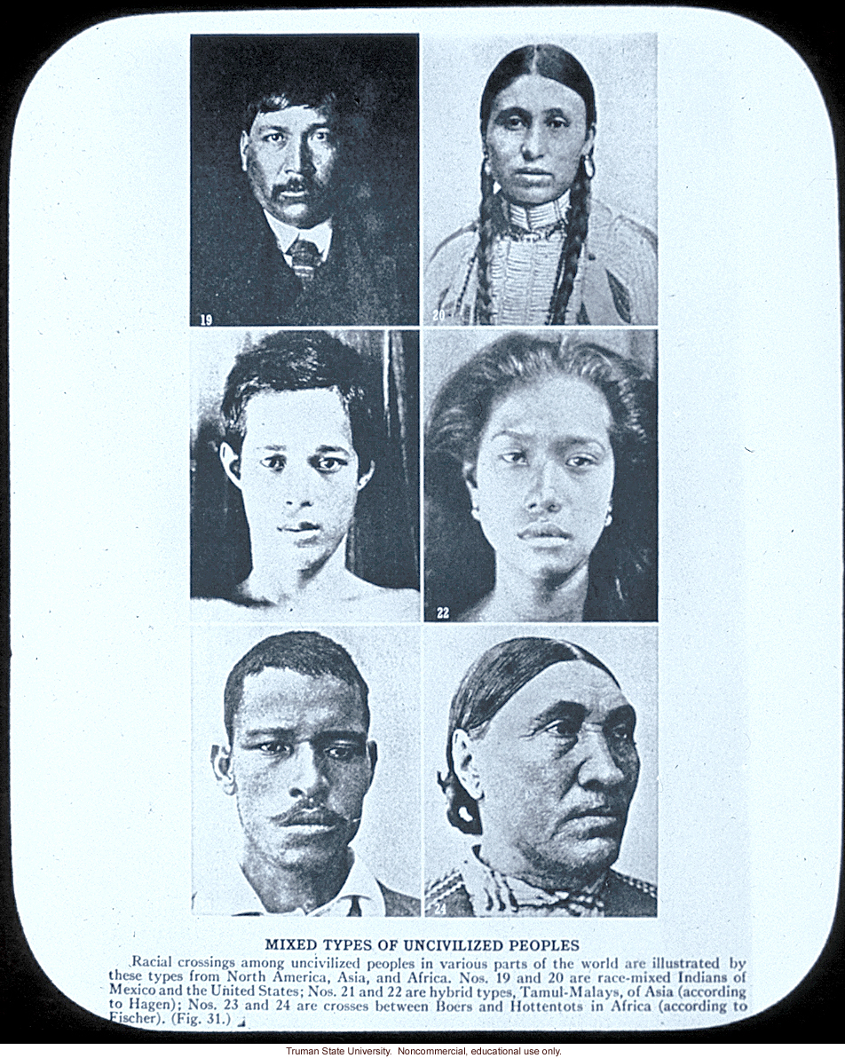 &quote;Mixed types of uncivilized peoples,&quote; about racial mixing