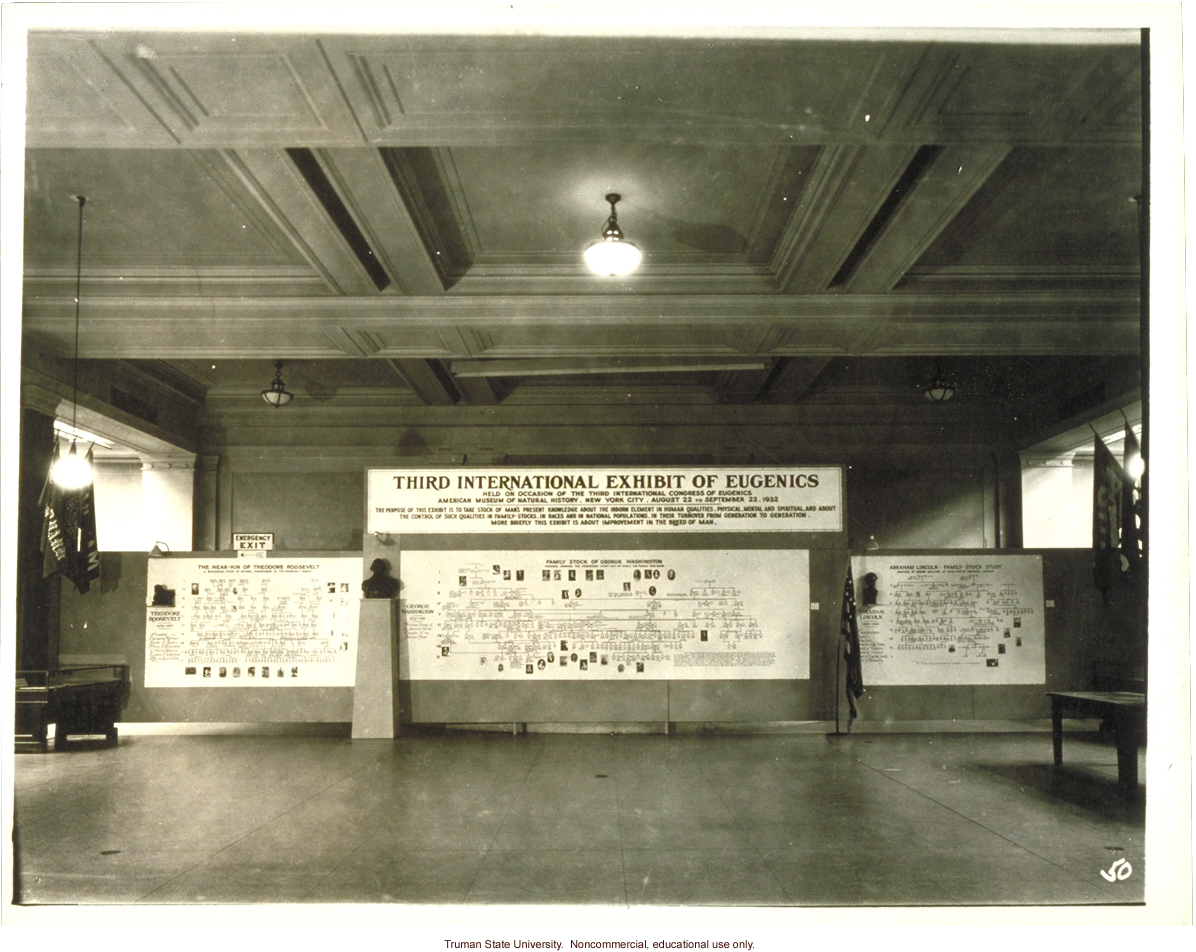 General view of pedigree exhibit on T. Roosevelt, G. Washington, A. Lincoln, 3rd International Eugenics Conference