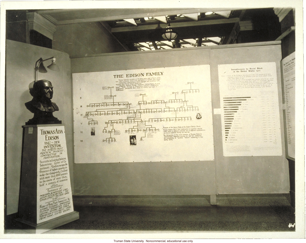 Pedigree exhibit:  &quote;The Edison family,&quote; 3rd International Eugenics Conference