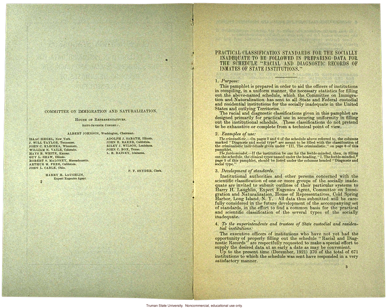 &quote;Classification standards,&quote; by Harry H. Laughlin