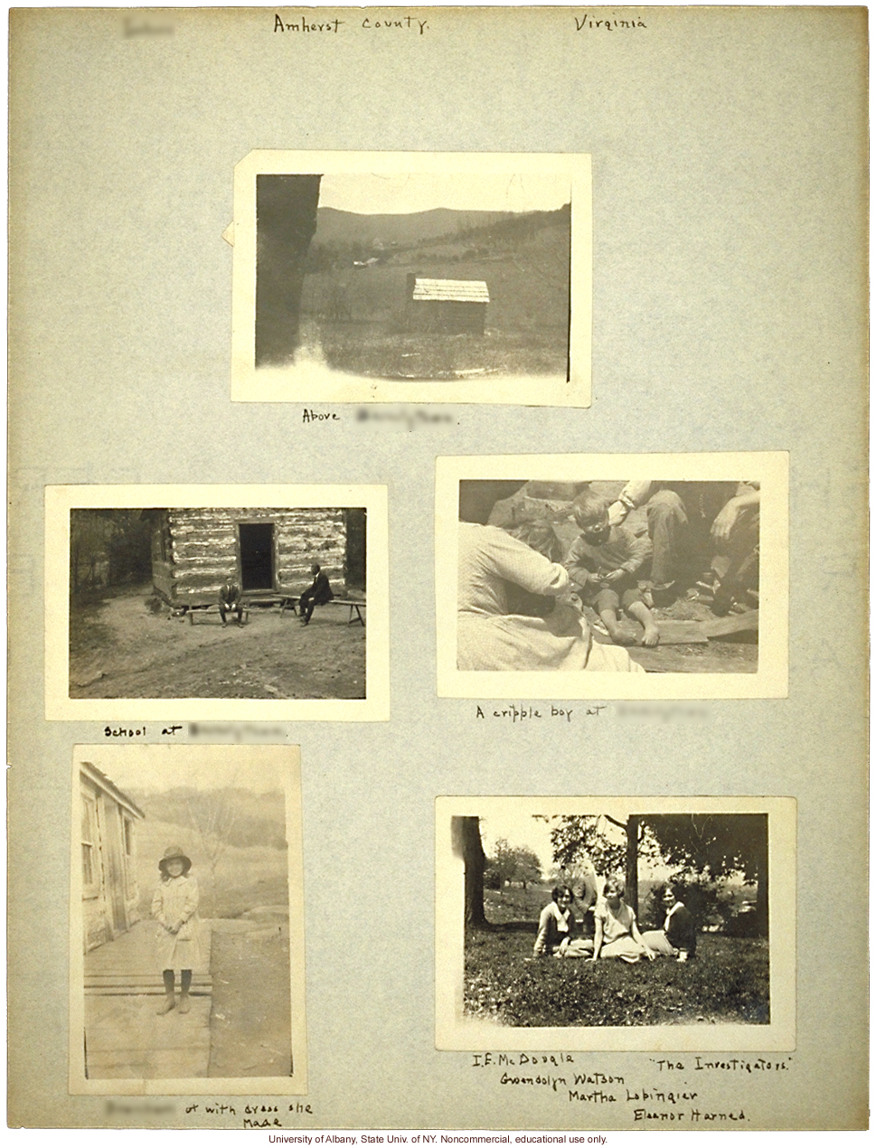 Field work for <i>Mongrel Virginians</i> in Amherst County, Virginia, Arthur Estabrook's scrapbook