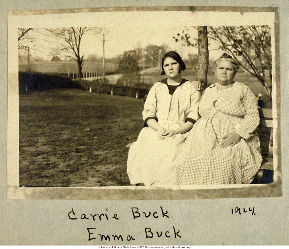 Carrie and Emma Buck at the Virginia Colony for Epileptics and Feebleminded, taken by A.H. Estabrook the day before the Buck v. Bell trial in Virginia