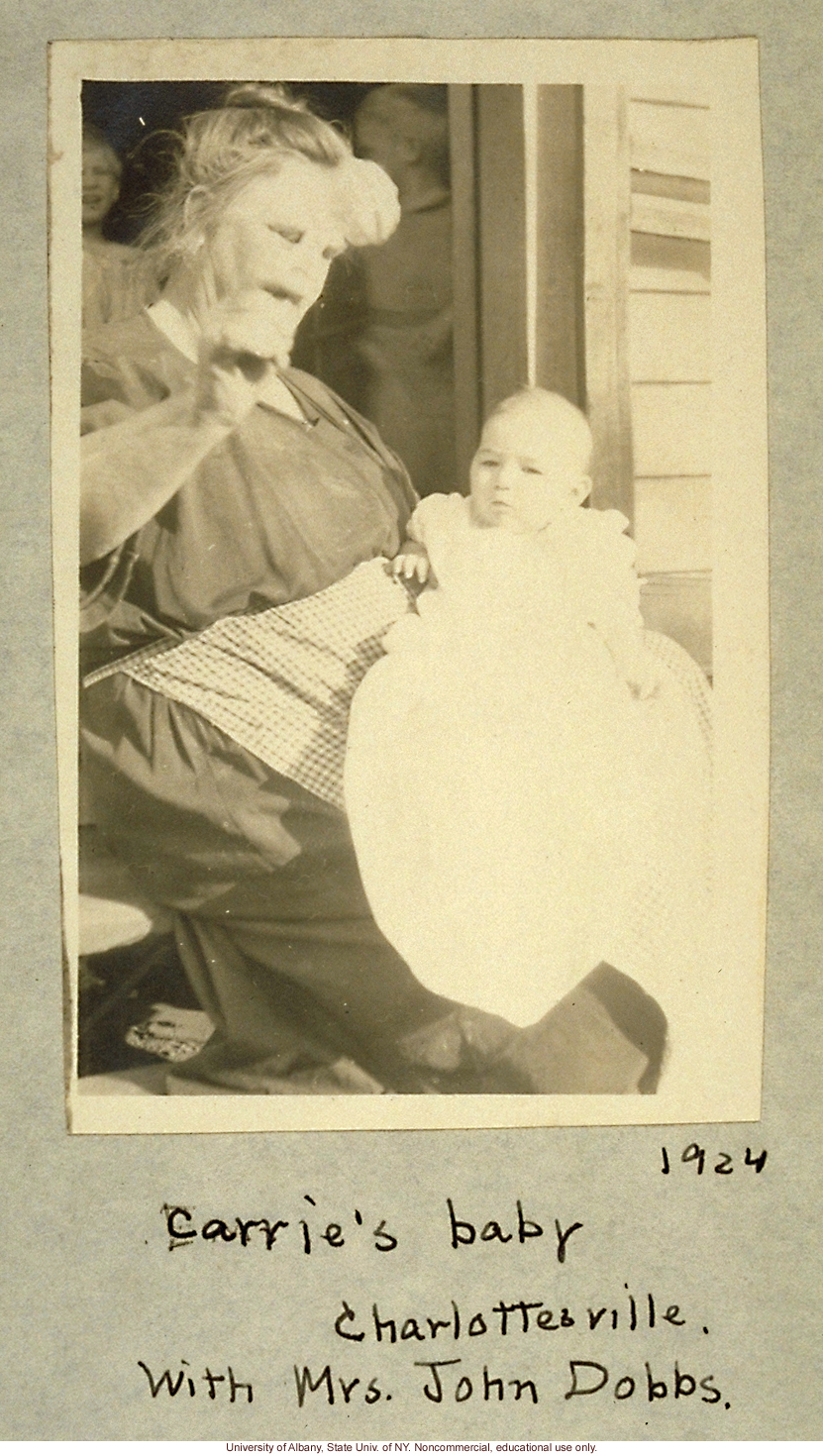 Vivian Buck and foster mother Alice Dobbs in Charlottesville, taken by A.H. Estabrook the day before the Buck v. Bell trial in Virginia