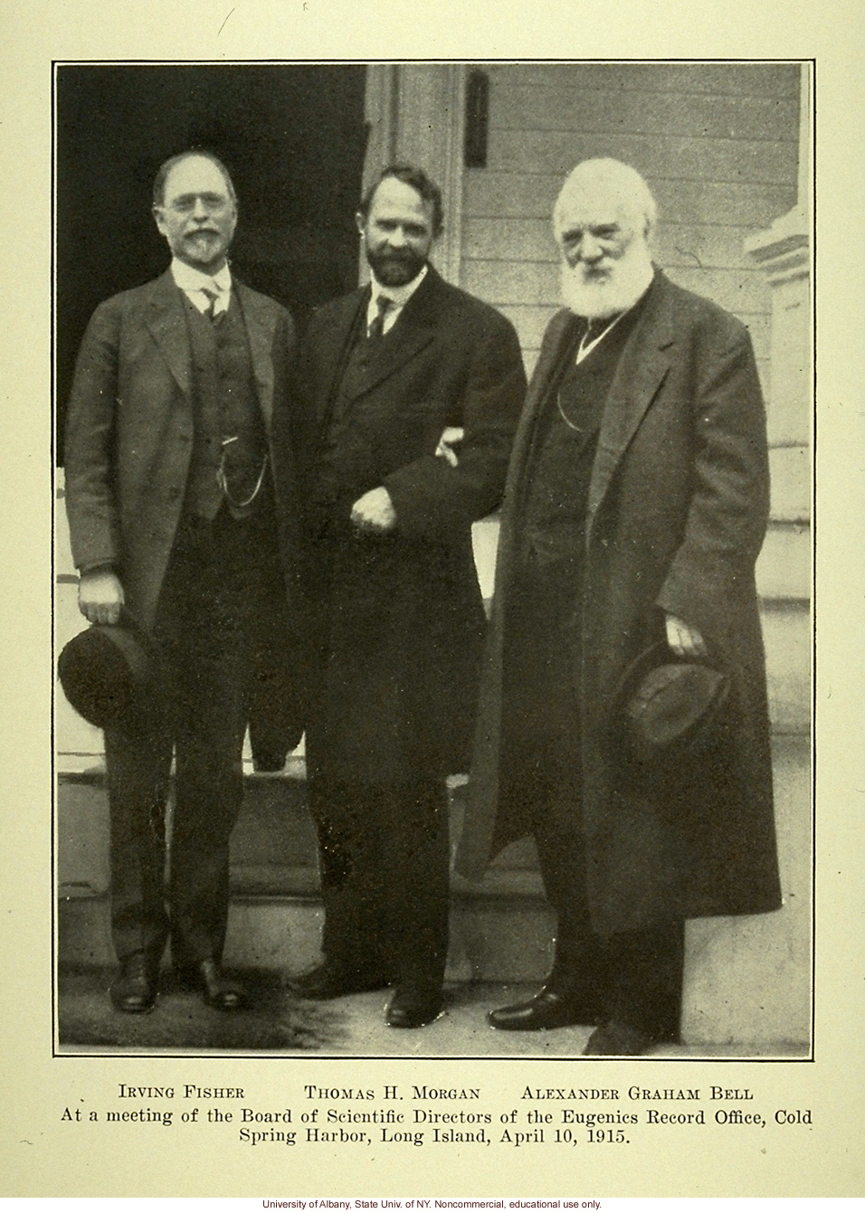 Irving Fisher, T.H. Morgan, and Alexander Graham Bell at Eugenics Record Office Board Meeting, April 10, 1915, Eugenical News (vol. 14:8)