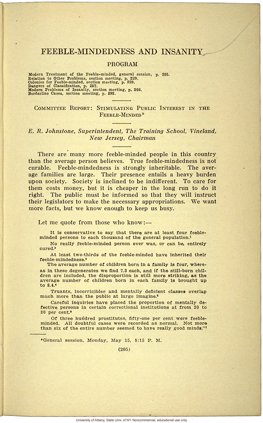 &quote;Stimulating Public Interest in the Feeble-Minded,&quote; by E.R. Johnstone (address to the National Conferenceof Charities and Correction, 1916)
