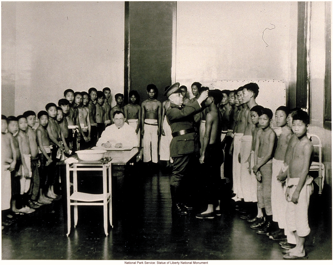 South Pacific immigrants being examined by a doctor at Ellis Island