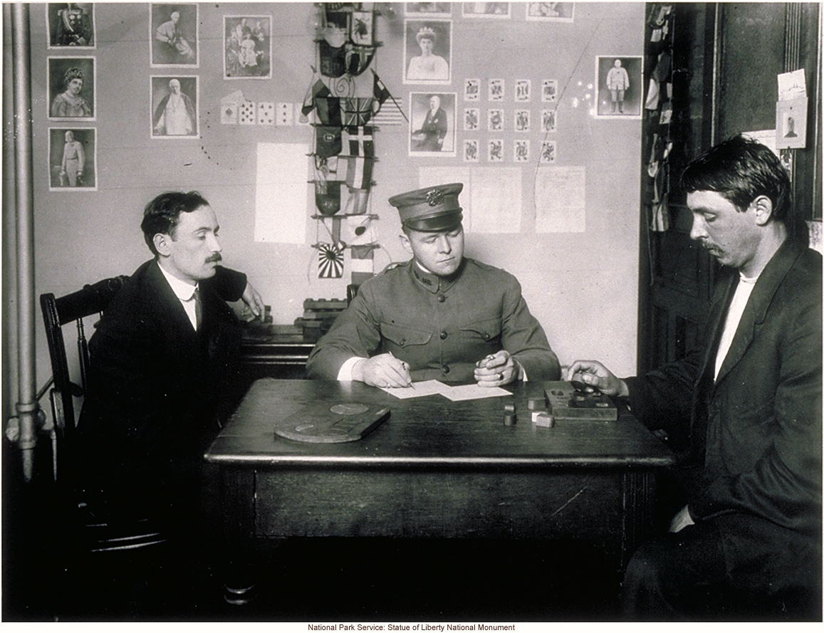 Howard Knox (creator of intelligence test puzzle questions) examines an immigrant at Ellis Island