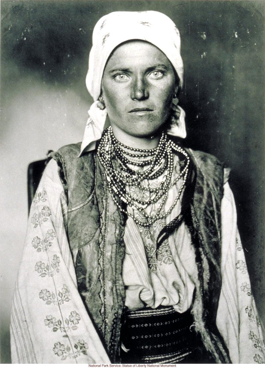 Gypsy woman at Ellis Island (Photograph by Augustus Sherman)