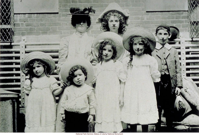 English family at Ellis Island (Photograph by Augustus Sherman)