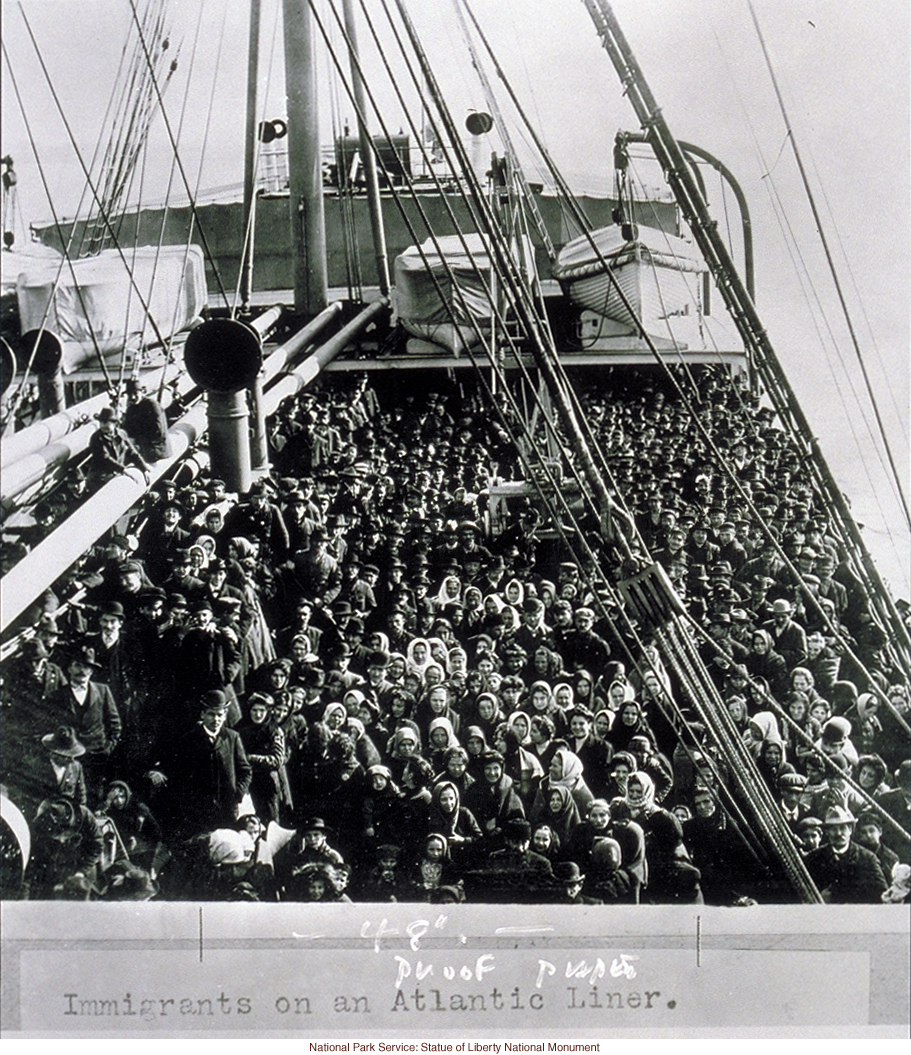 Immigrants on an Atlantic liner, photograph by Edwin Levick