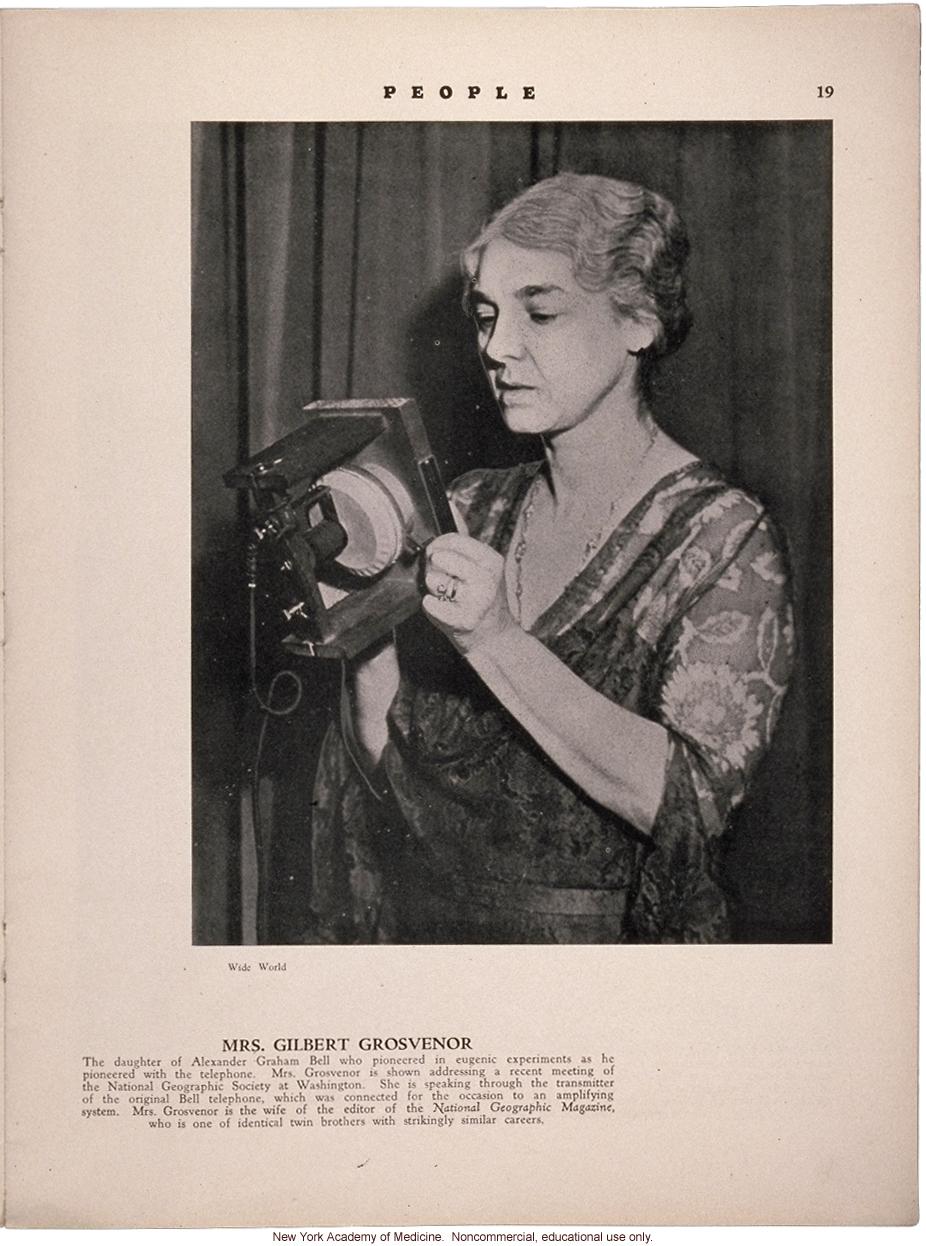 Profile of Mrs. Gilbert Grosvenor (daughter of Alexander Graham Bell), People (April 1931)