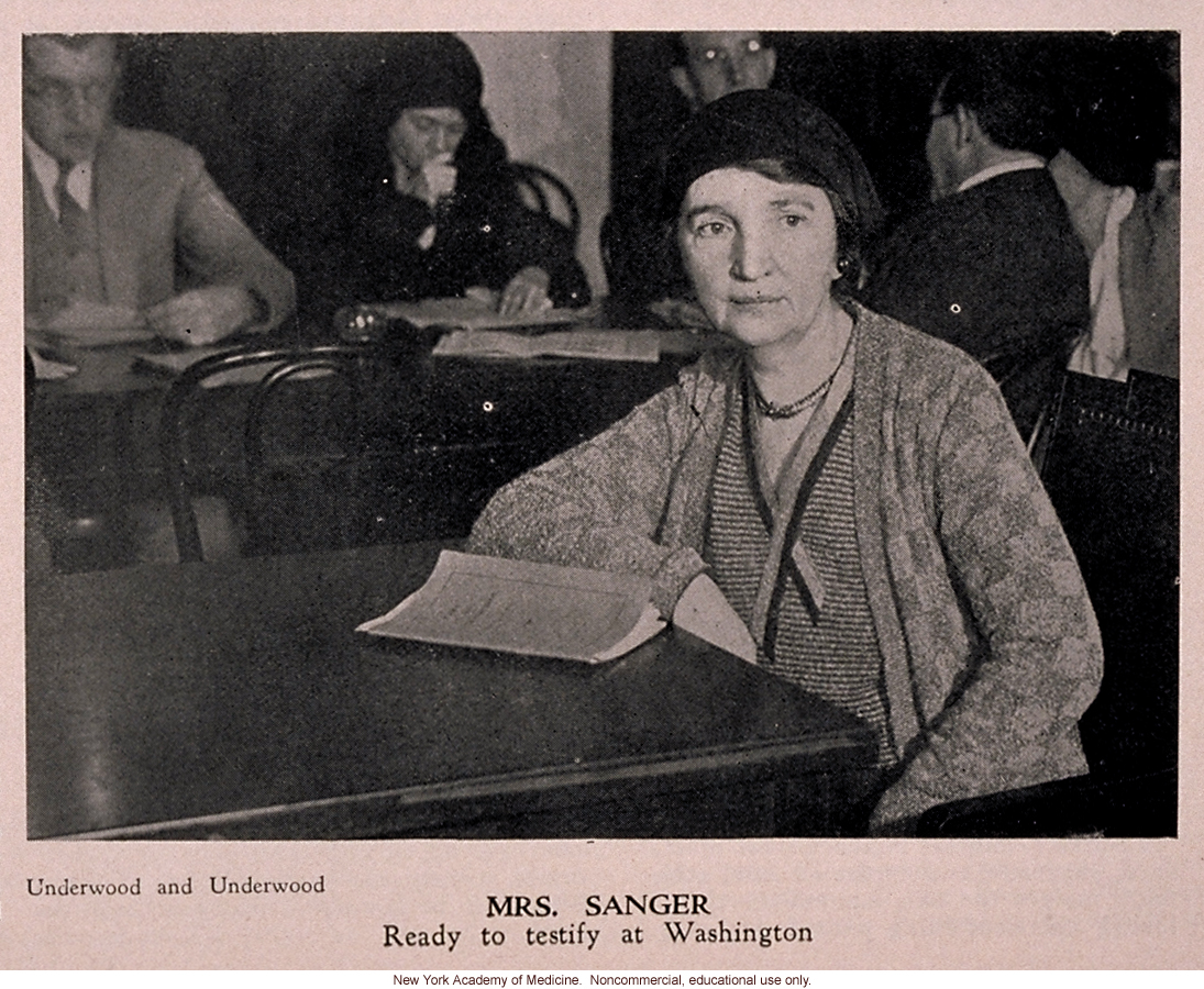 Margaret Sanger testisfies on birth control before Senate committee, People (April 1931)