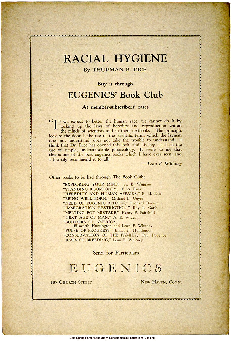 Advertisement for <i>Racial Hygiene</i>, for Eugenics' Book Club, Eugenics: A Journal of Race Betterment (vol II:8)