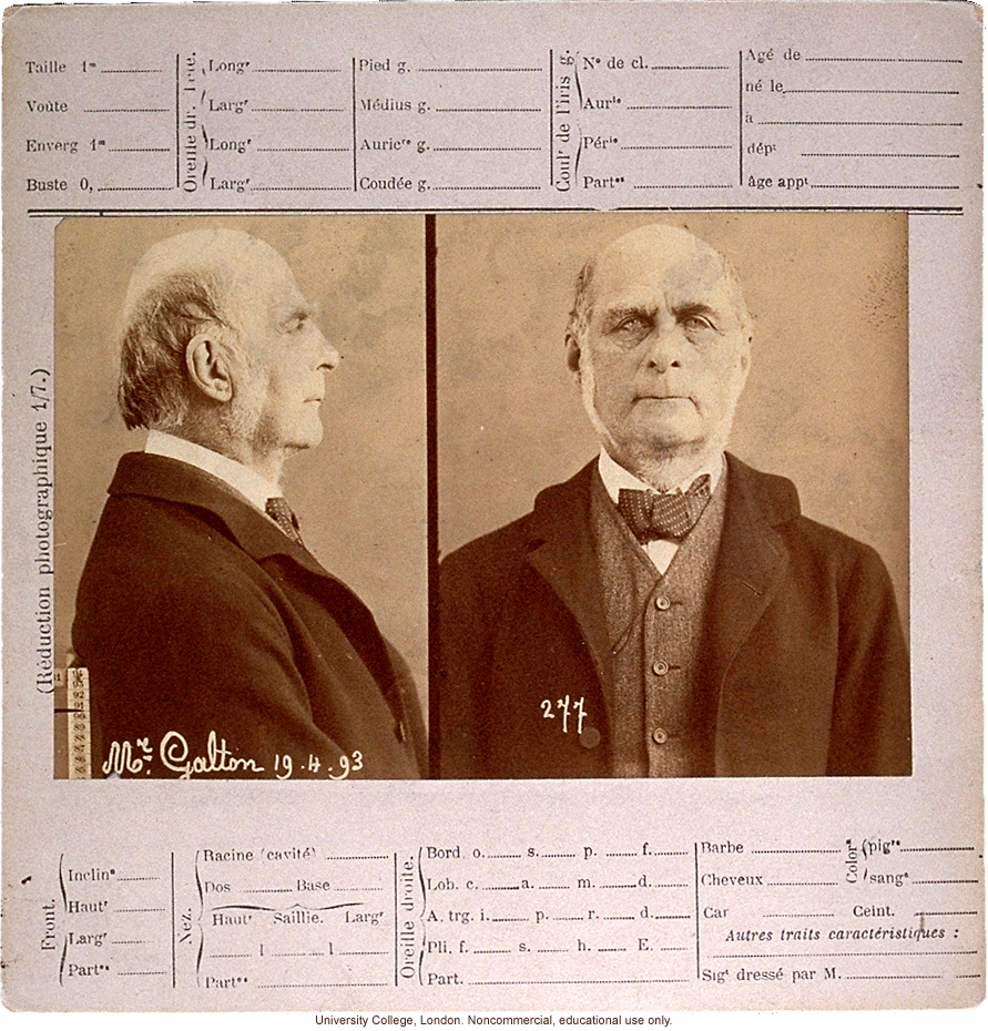 Anthropometry card of Francis Galton, with profile and full-face photos and spaces for key body measurements, taken by Alphonse Bertillon