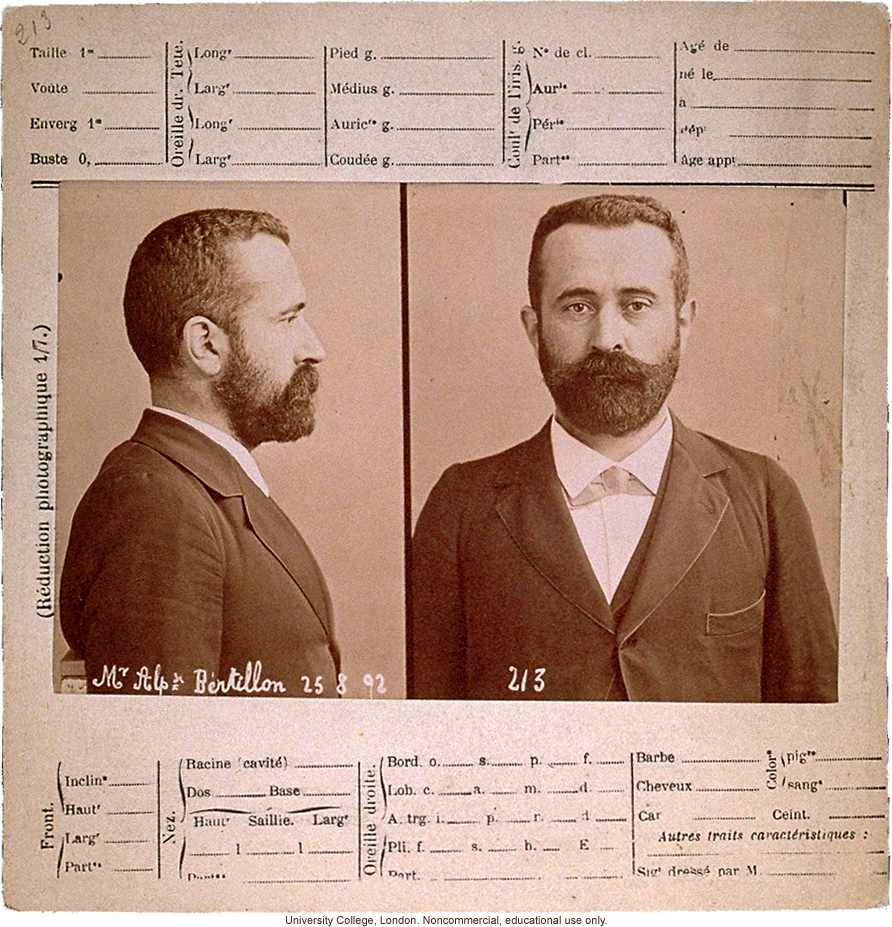 Anthropometry card of Alphonse Bertillon, who originated this criminal identification system of profile and full-face photos and key body measurements