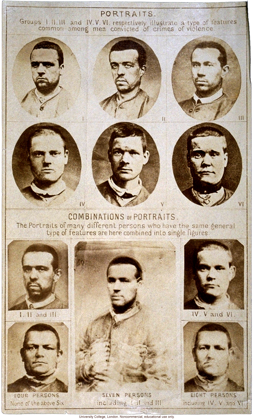 Composite portraits showing &quote;features common among men convicted of crimes of violence,&quote; by Francis Galton, with original photographs