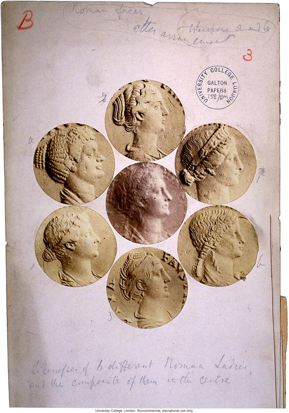 &quote;Likenesses of 6 different Roman Ladies and the composite of them in the centre&quote; (from coins), by Francis Galton