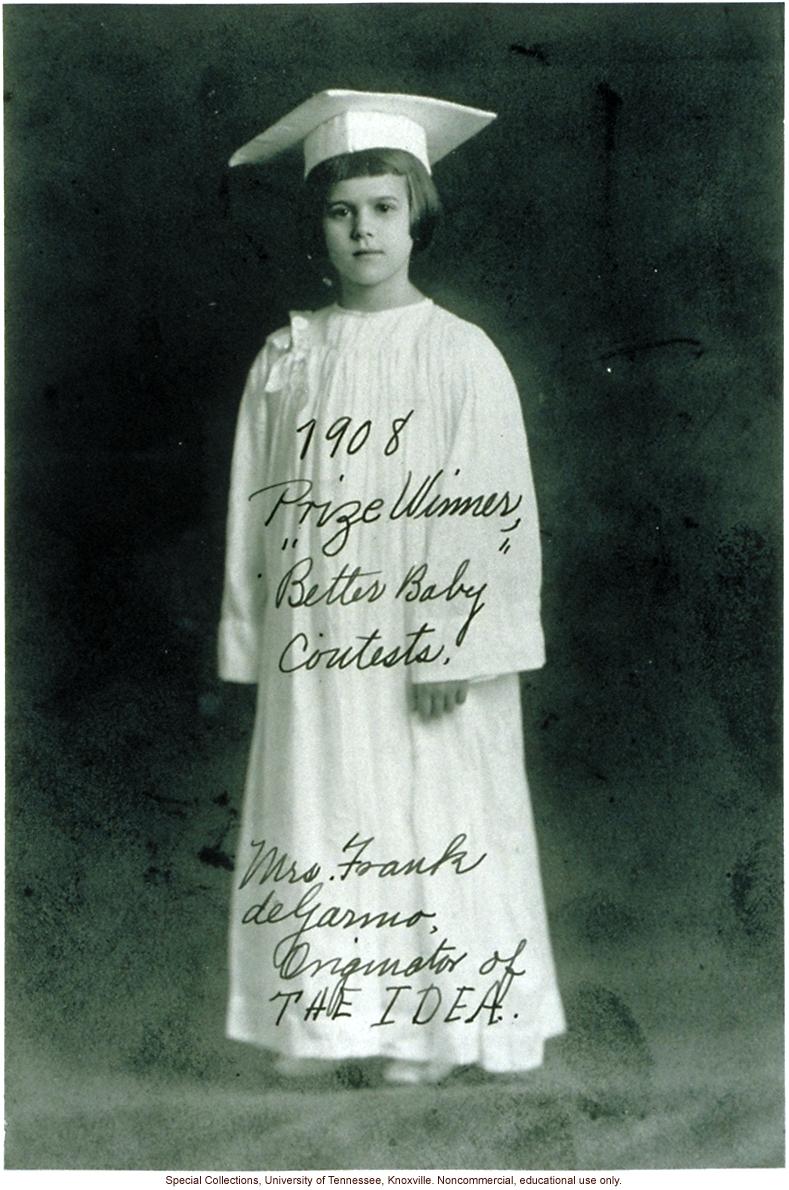 &quote;1908 Prize Winner, &quote;Better Baby' Contests. Mrs. Frank deGarmo, Originator of THE IDEA.&quote; Louisiana State Fair, Shreveport