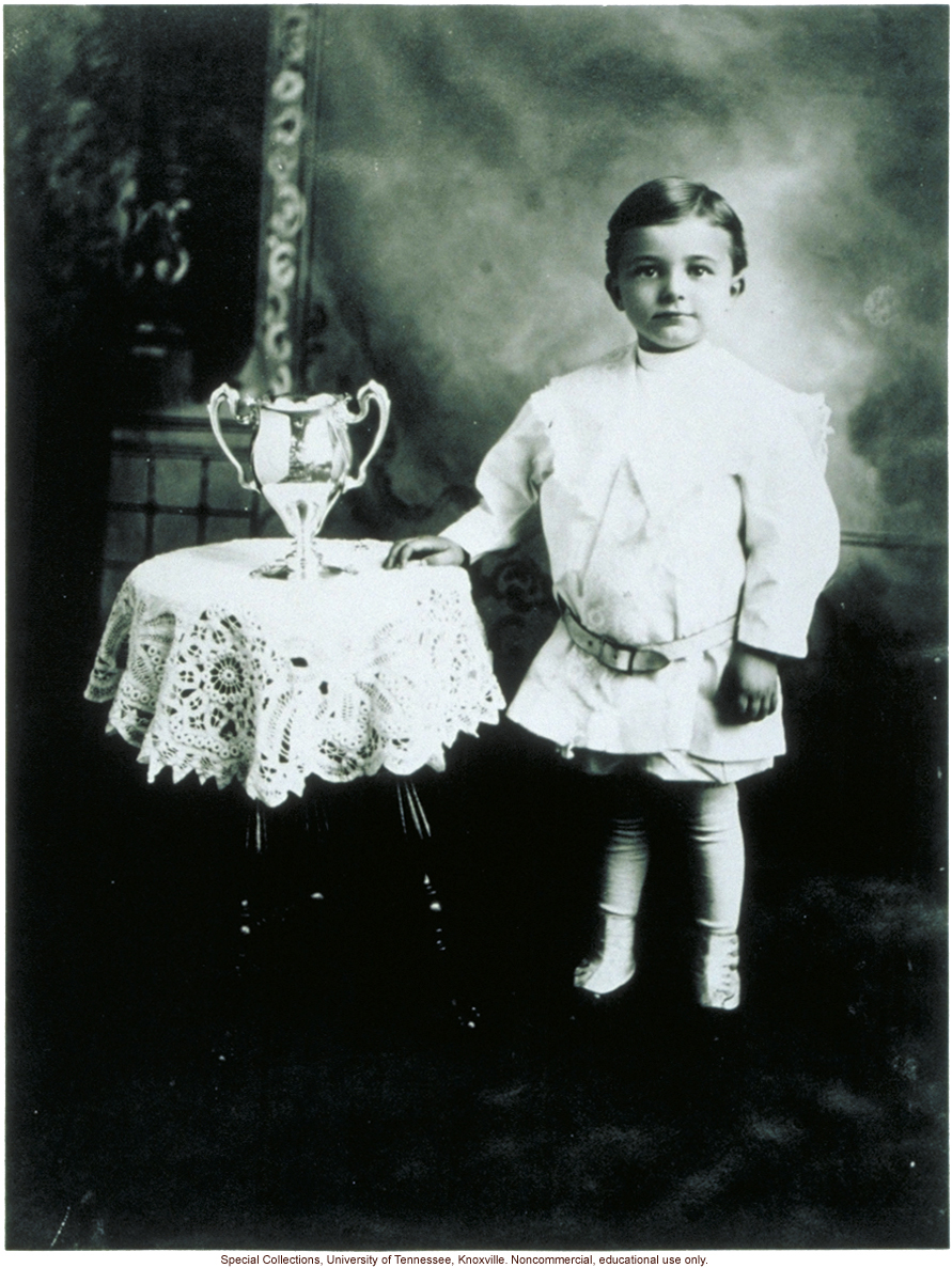 Better Babies contestant, with trophy, Louisiana State Fair, Shreveport