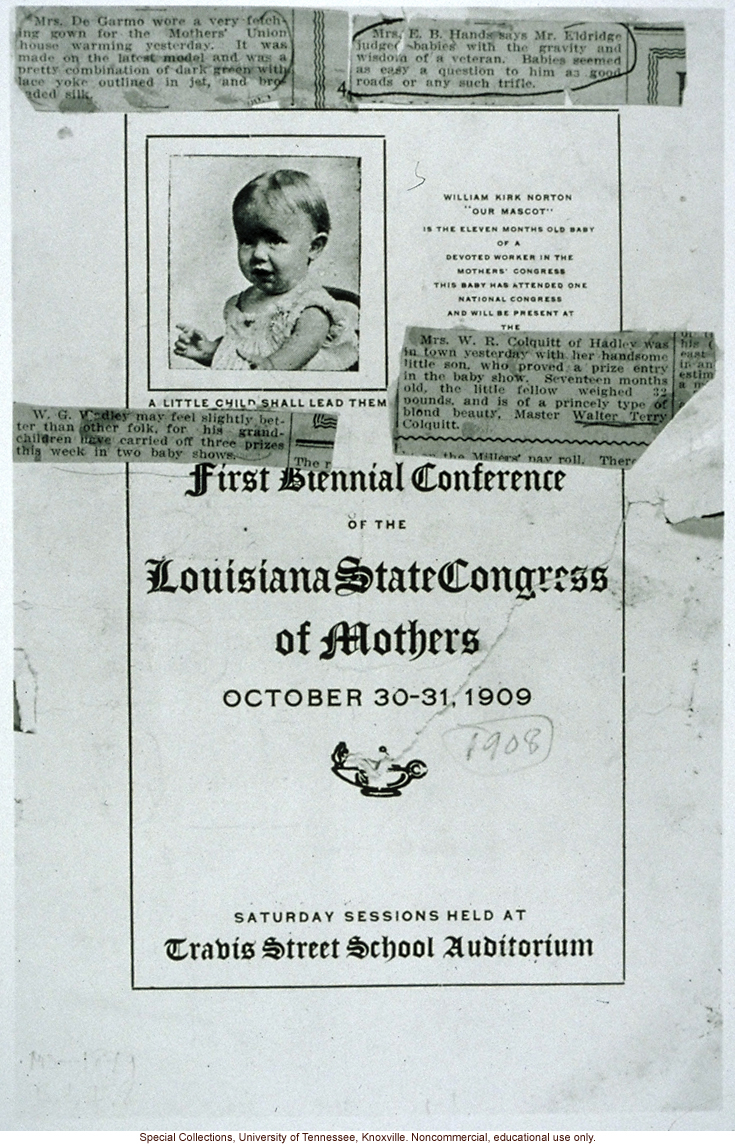 Announcement for Louisiana State Congress of Mothers, with news clippings