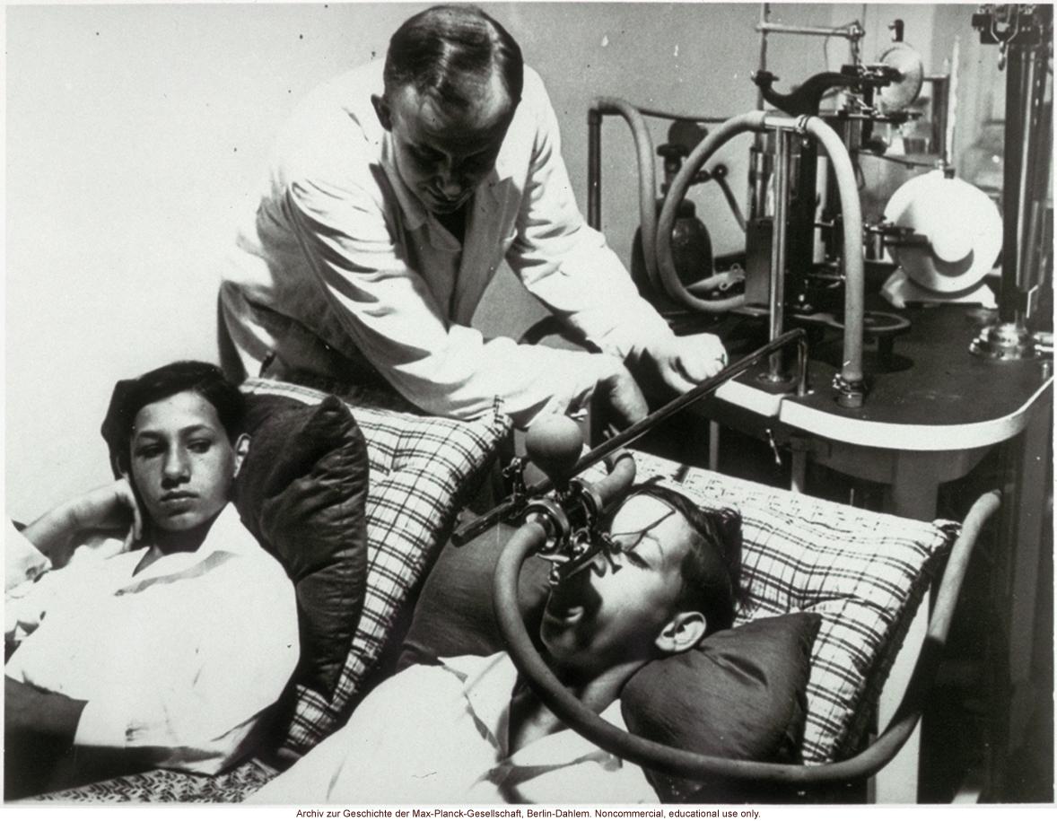 Male twins undergoing spirometry by Otmar Freiherr von Verschuer