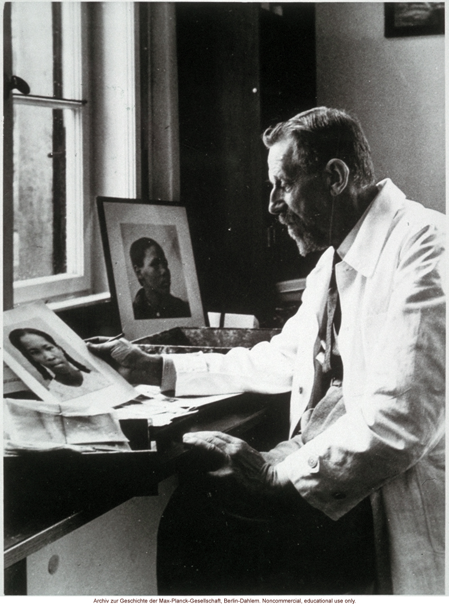 Eugen Fischer, Director of the Kaiser-Wilhelm Institute for Antropology, Human Heredity and Eugenics (1927-1942), looking at images of blacks