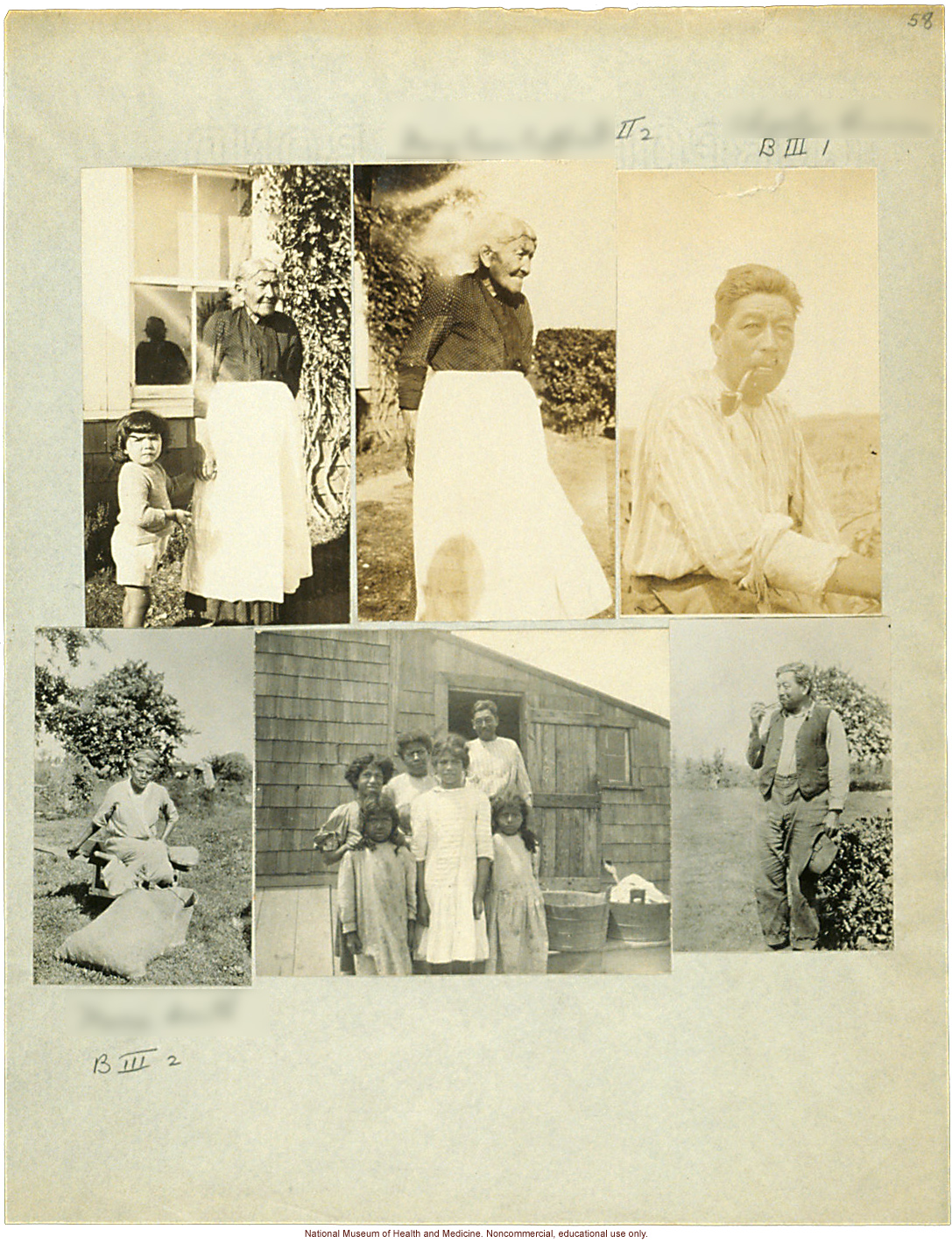 Anthropometric case materials on a Shinnecock Indian Family of Eastern Long Island (photographs, pedigree, field notes, and physical measurements)