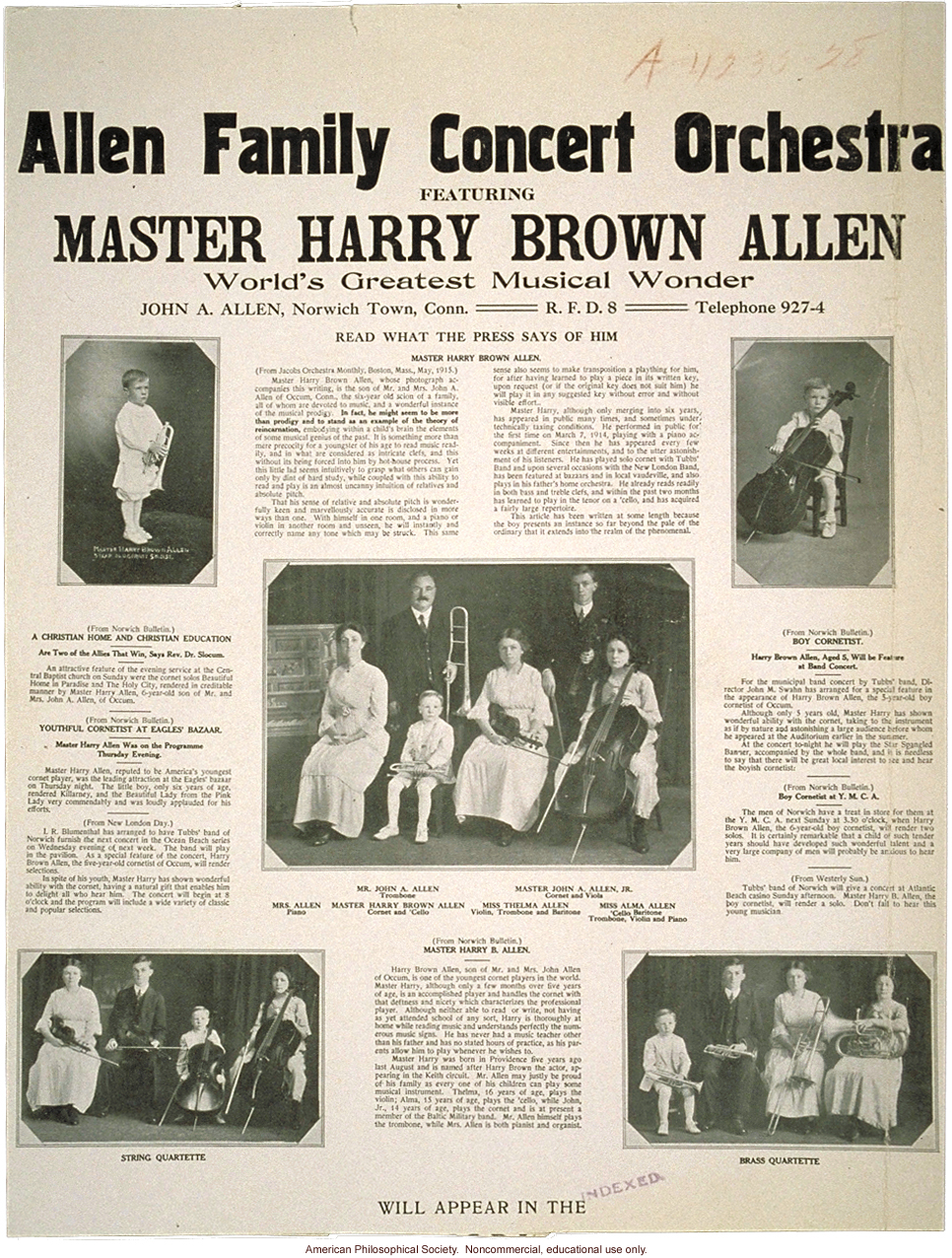 &quote;Allen family concert orchestra, featuring Master Harry Allen, world's greatest musical wonder&quote;