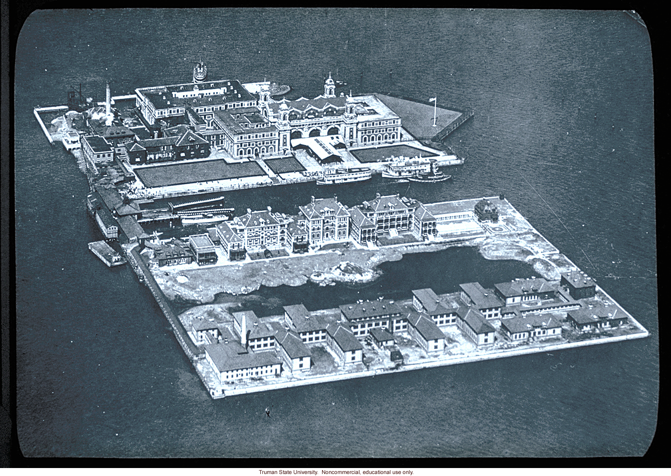 Aerial view of Ellis Island