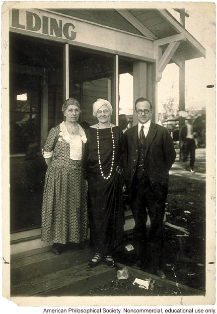 Florence Brown Sherbon and Mary T. Watts, founders of the Fitter Families Contest, with Leon F. Whitney at  Kansas State Free Fair