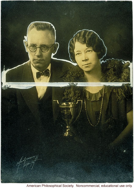&quote;Best couple&quote; with trophy, Fitter Families Contest, Texas State Fair (1925)