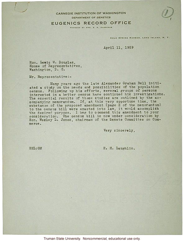 H. Laughlin letter to Hon. L. Douglas, about census bill and necessary ammendments