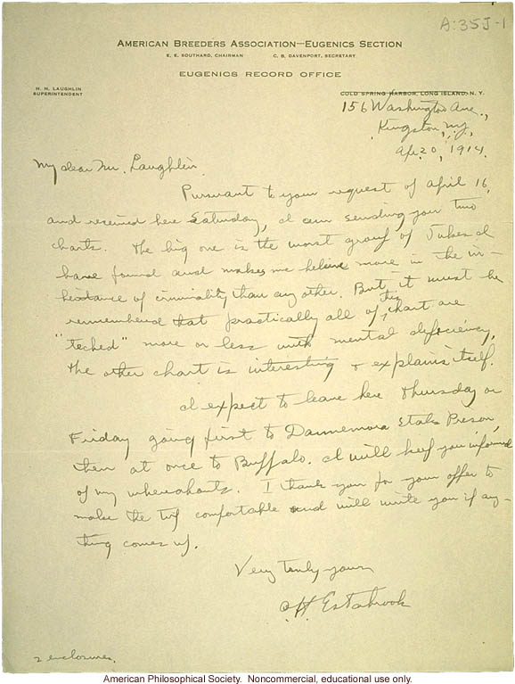 A. Estabrook letter to H. Laughlin about Jukes pedigree