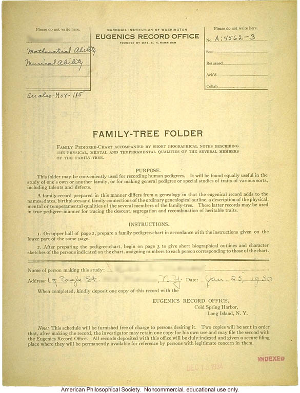 Family tree folder recording inheritance of mathematical and musical ability