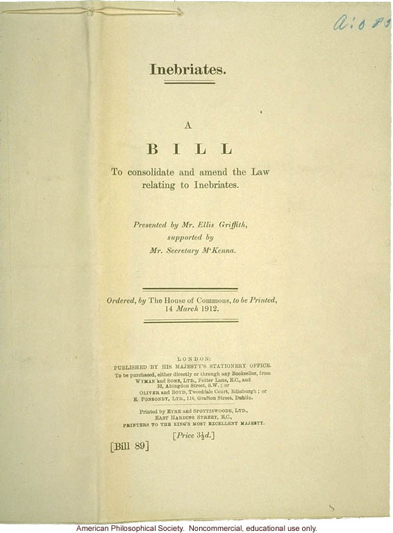 British House of Commons Bill on Inebriates, inscribed to H. Laughlin