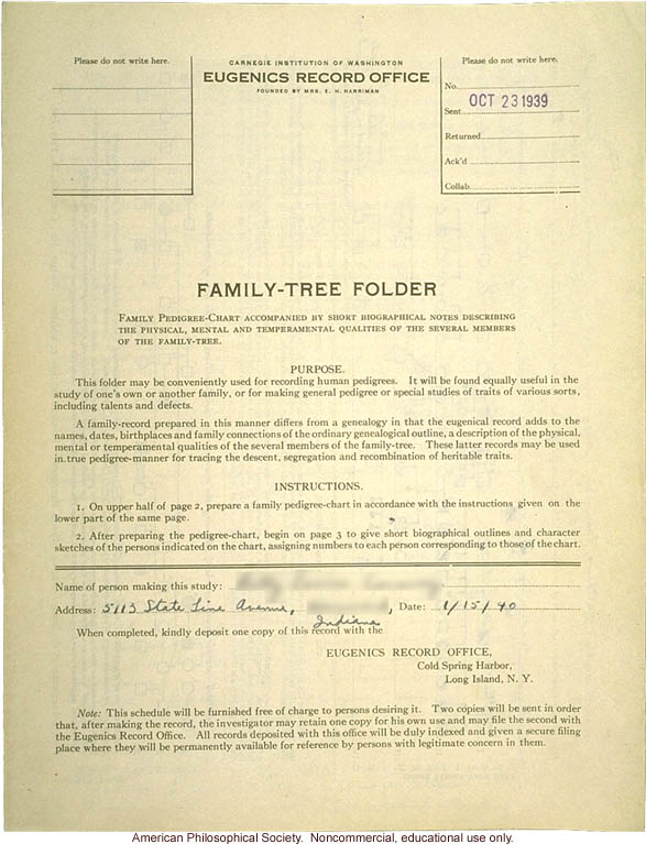 Family-tree folder recording inheritance of allergies, longevity, civic leadership, and other traits