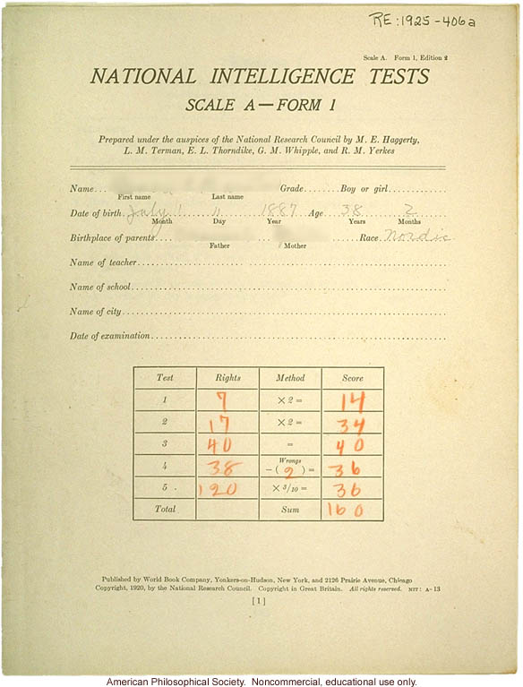 &quote;Large family&quote; winner, Fitter Families Contest, Eastern States Exposition, Springfield, MA (1925): National intelligence tests