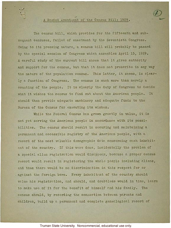 H. Laughlin document to Hon. L. Douglas, &quote;A needed amendment to Census Bill: 1929&quote;