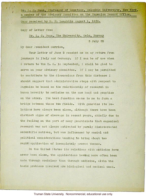 L.C. Dunn letter to President Merriam, about eugenics in the U. S. and in Germany