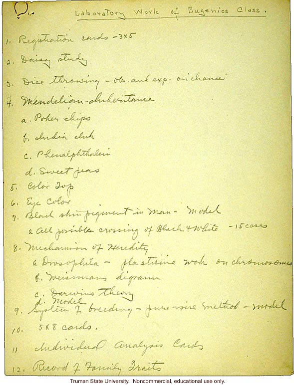 &quote;Laboratory work of eugenics class,&quote; field worker notes