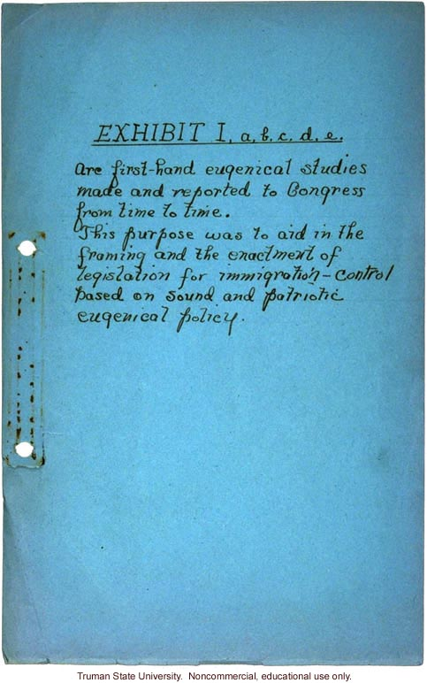 Handwritten cover to Congressional testimony 1920-24, about immigration