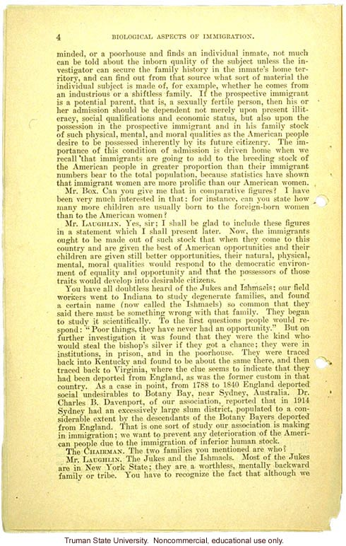 &quote;Biological aspects of immigration,&quote; Harry H. Laughlin testimony before the House Committee on Immigration and Naturalization