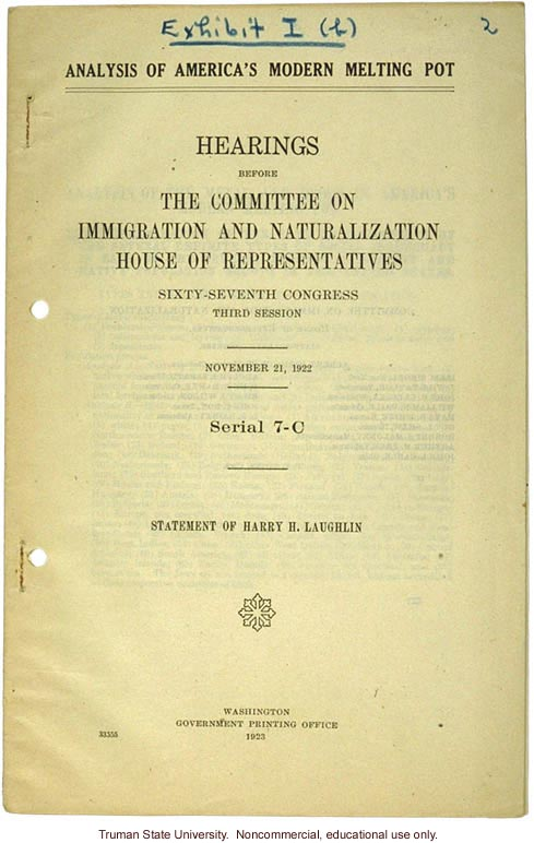 &quote;Analysis of America's Modern Melting Pot,&quote; Harry H. Laughlin testimony before the House Committee on Immigration and Naturalization