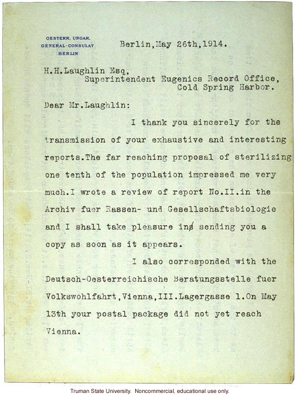 G. von Hoffmann letter to H. Laughlin in praise of his goals on sterilization