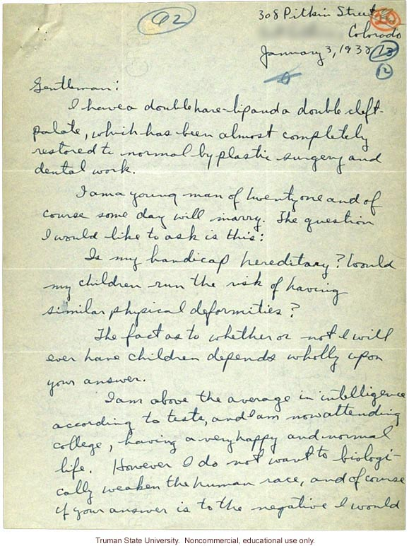 Letter asking about heredity of cleft lip and palate