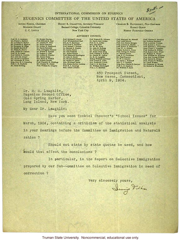 I. Fisher letter to H. Laughlin about E. Cheever's attack on Laughlin's analysis on immigration