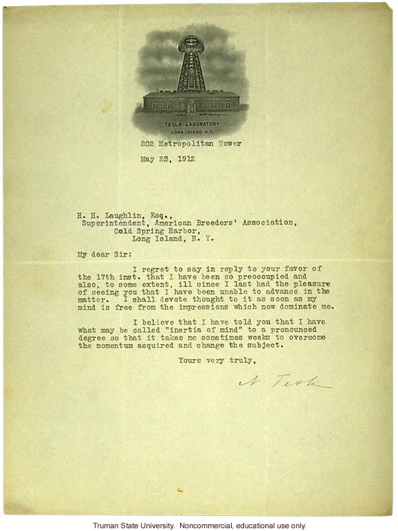 Tesla letter to H. Laughlin about his genius pedigree