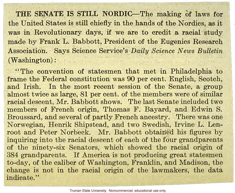 The Senate is still Nordic,&quote; about how the decision-makers in the Senate are still those of Nordic descent