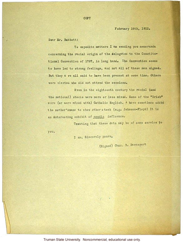 C. Davenport letter to Babbott, author of &quote;The Senate is Still Nordic&quote;